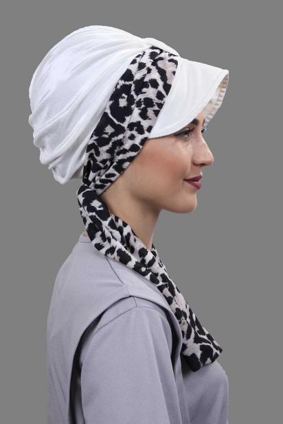 Kadife Atkılı Şapka Bone Beyaz