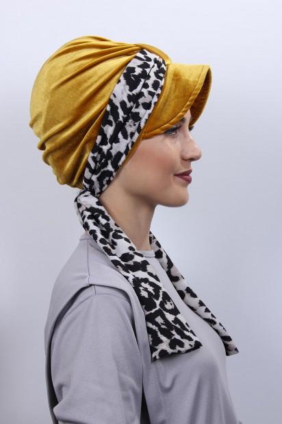 Kadife Atkılı Şapka Bone Hardal Sarısı