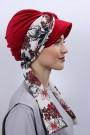 Kadife Atkılı Şapka Bone Kırmızı
