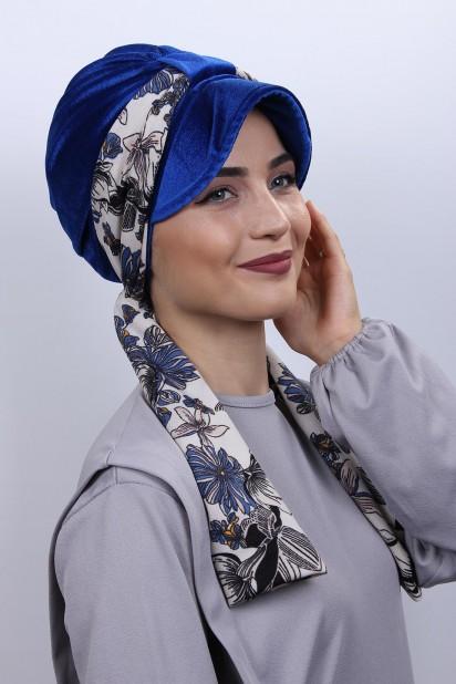 Kadife Atkılı Şapka Bone Saks Mavisi