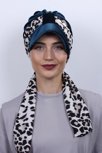 Kadife Atkılı Şapka Bone Petrol Mavisi