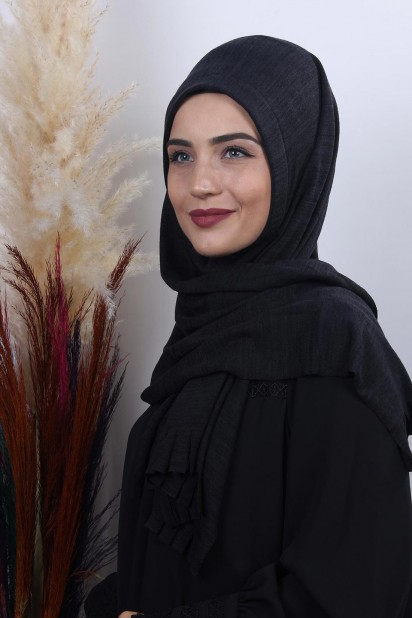 Triko Pratik Hijab Şal Siyah-Laci