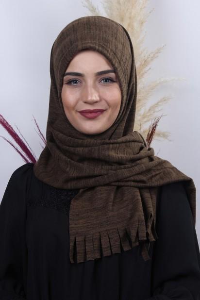 Triko Pratik Hijab Şal Kahve Melanj