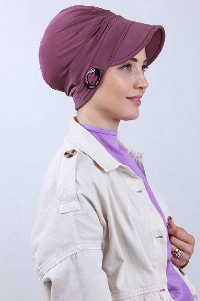 Tokalı Şapka Bone Koyu Gül Kurusu