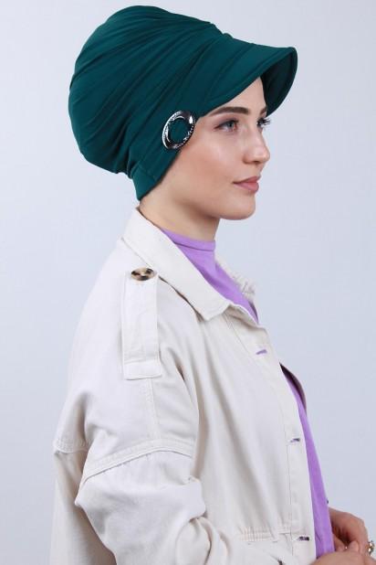 Tokalı Şapka Bone Zümrüt Yeşili