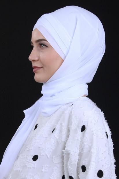 3 Bantlı Bağlamalı Şal Beyaz