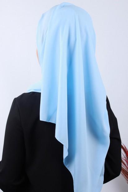 4 Drapeli Tesettür Şal Bebe Mavisi