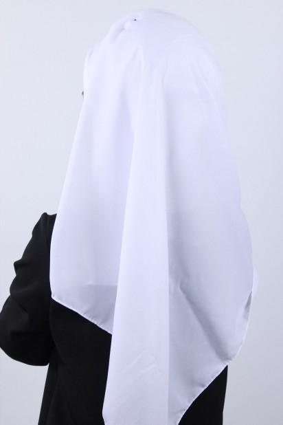4 Drapeli Tesettür Şal Beyaz