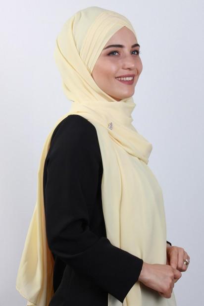 4 Drapeli Tesettür Şal Sarı