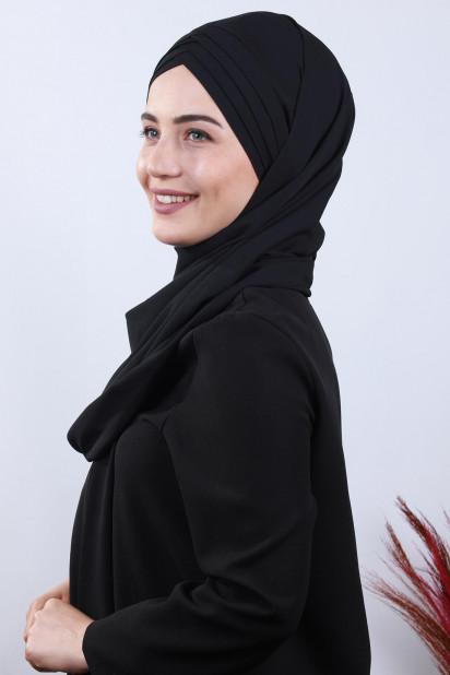 4 Drapeli Tesettür Şal Siyah