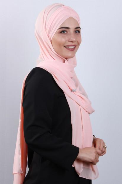 4 Drapeli Tesettür Şal Somon