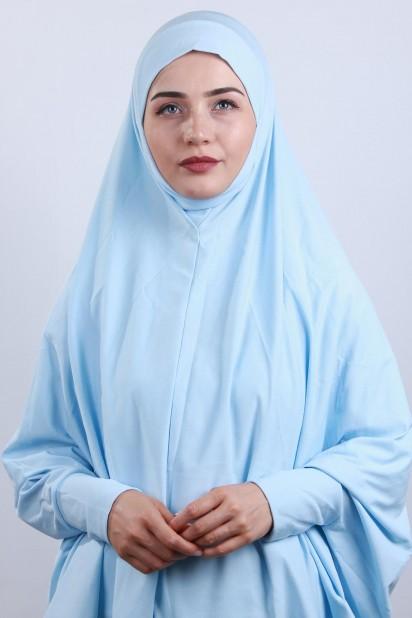 5XL Peçeli Hijab Bebe Mavisi