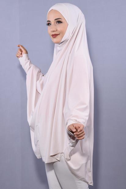 5XL Peçeli Hijab Bej