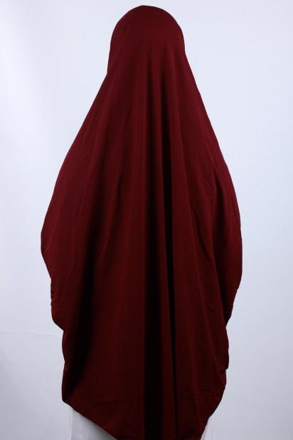 5XL Peçeli Hijab Bordo