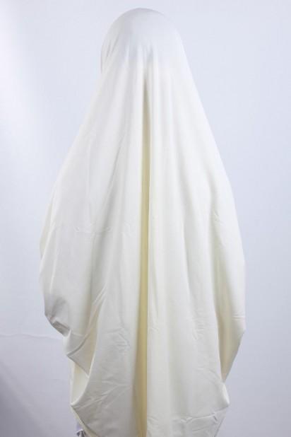 5XL Peçeli Hijab Ekru