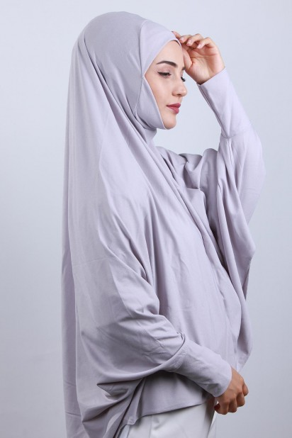 5XL Peçeli Hijab Gri