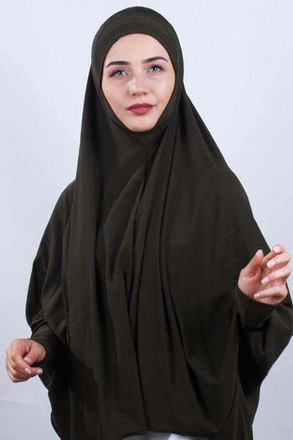 5XL Peçeli Hijab Haki Yeşili