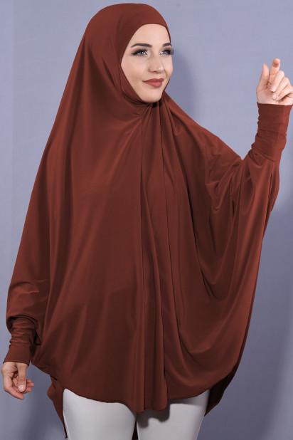 5XL Peçeli Hijab Kiremit