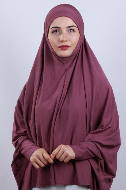 5XL Peçeli Hijab Koyu Gül Kurusu