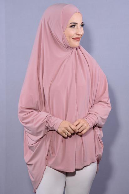 5XL Peçeli Hijab Pudra Pembesi