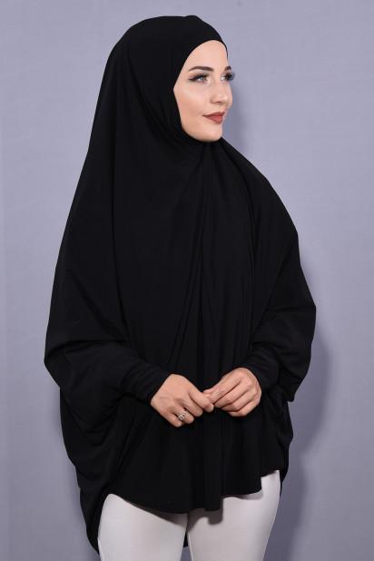 5XL Peçeli Hijab Siyah