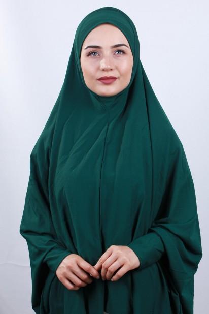 5XL Peçeli Hijab Zümrüt Yeşili