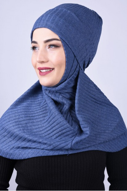 Bereli Triko Hijab İndigo