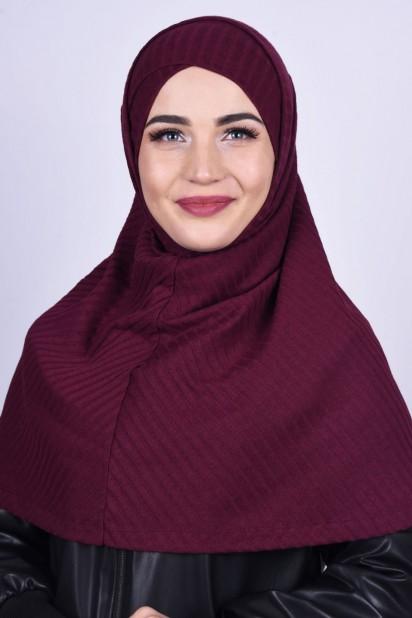 Çapraz Boneli Triko Hijab Bordo
