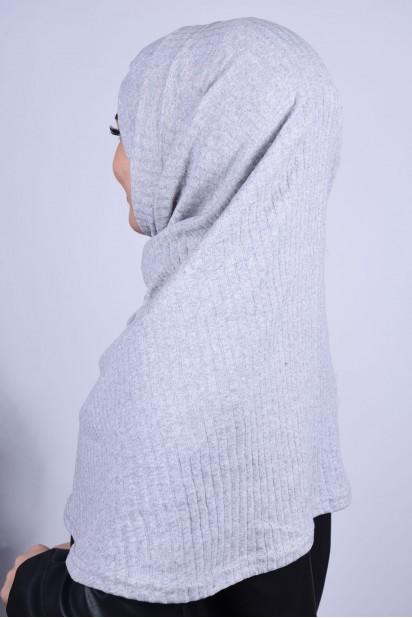 Çapraz Boneli Triko Hijab Gri