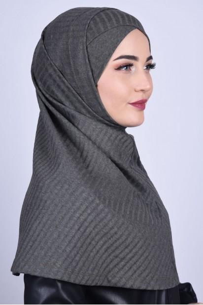 Çapraz Boneli Triko Hijab Haki Yeşili