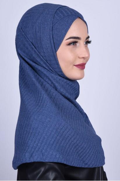 Çapraz Boneli Triko Hijab İndigo