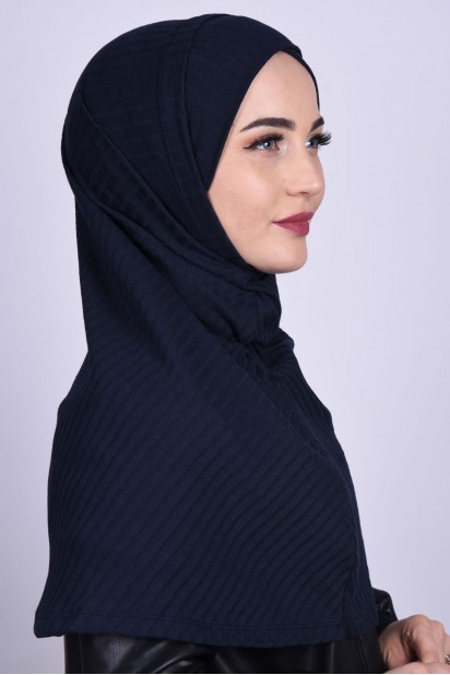 Çapraz Boneli Triko Hijab Lacivert