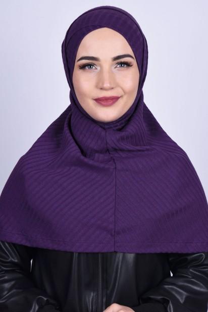 Çapraz Boneli Triko Hijab Mor