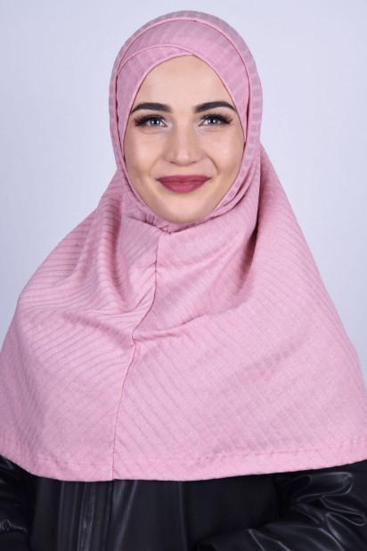 Çapraz Boneli Triko Hijab Pudra Pembesi