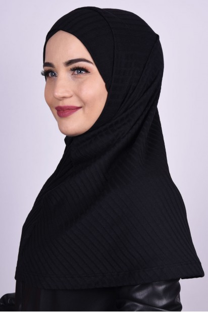 Çapraz Boneli Triko Hijab Siyah