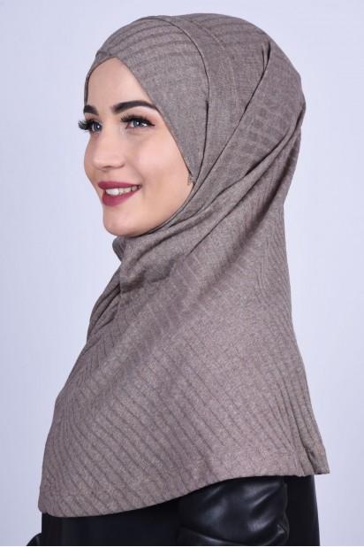 Çapraz Boneli Triko Hijab Vizon