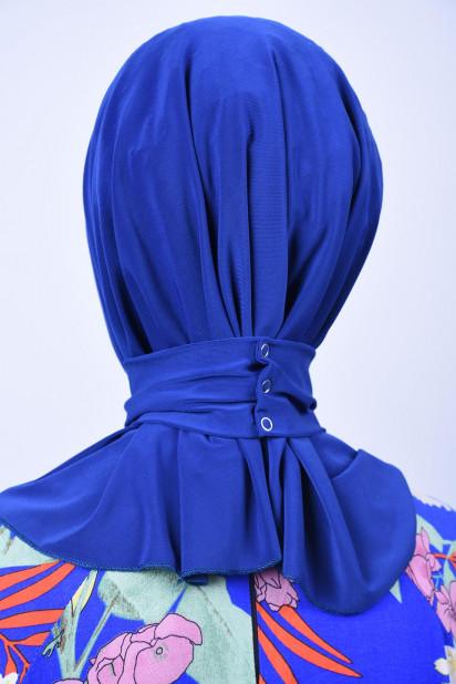 Çıtçıtlı Fular Şal Saks Mavisi