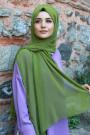 Düz Şifon Şal Yağ Yeşili