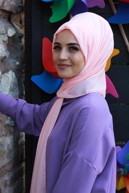 Düz Şifon Şal Somon