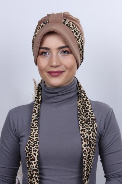 Fularlı Şapka Bone Taba
