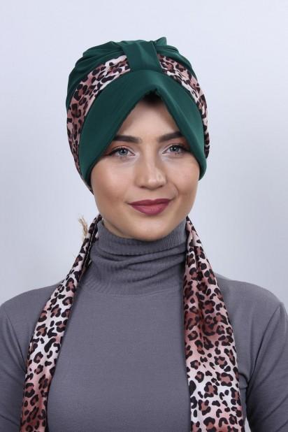 Fularlı Şapka Bone Zümrüt Yeşili