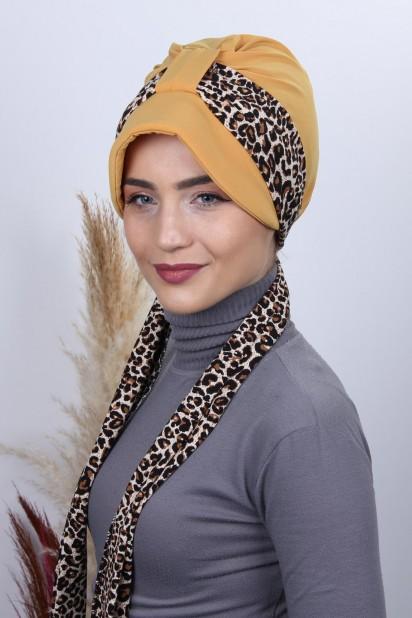 Fularlı Şapka Bone Hardal Sarısı
