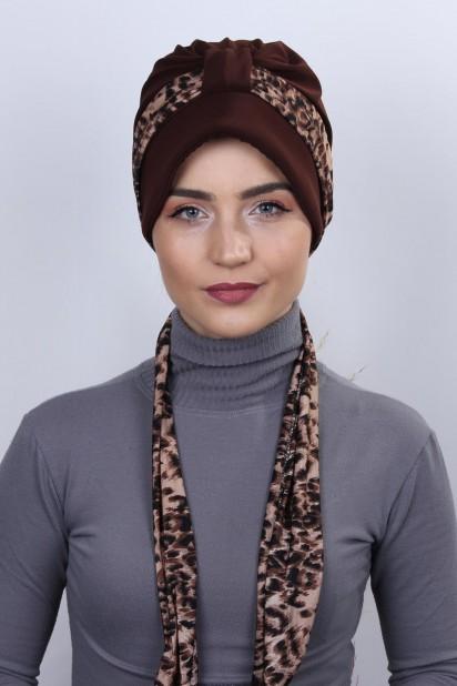 Fularlı Şapka Bone Kahverengi