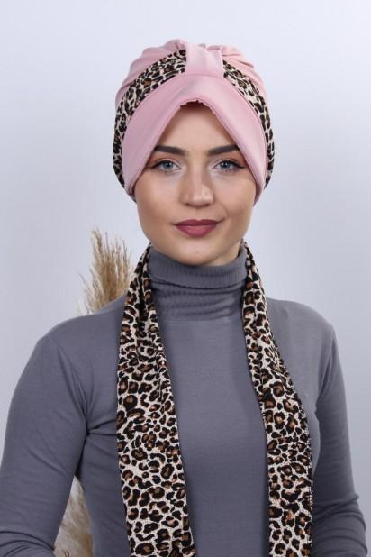 Fularlı Şapka Bone Pudra Pembesi