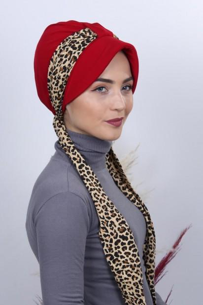 Fularlı Şapka Bone Kırmızı