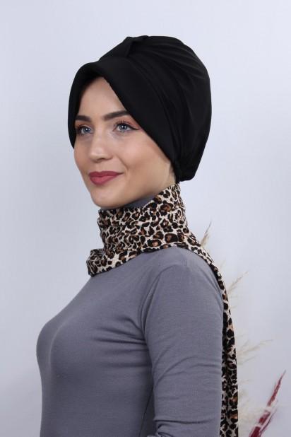 Fularlı Şapka Bone Siyah