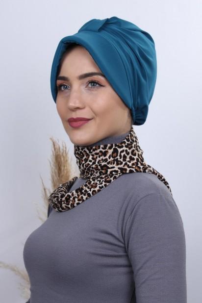 Fularlı Şapka Bone Petrol Mavisi