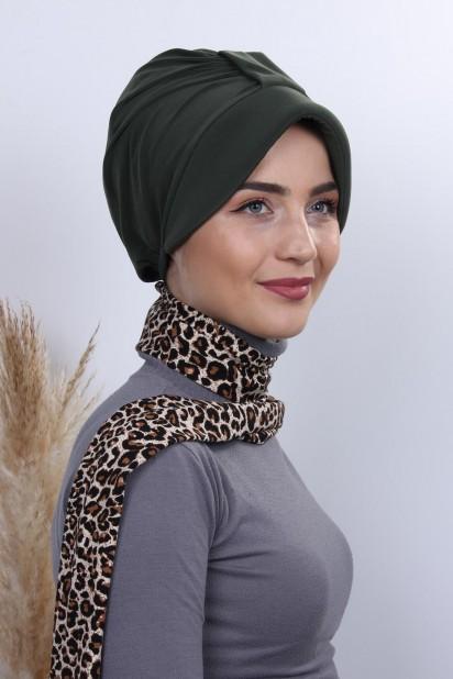 Fularlı Şapka Bone Haki Yeşili