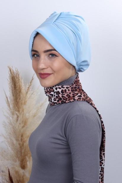 Fularlı Şapka Bone Bebe Mavisi