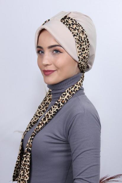 Fularlı Şapka Bone Bej